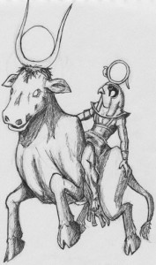 Ra ascends via Nut as the Celestial Cow. Drawing copyright 2009 by Adrian DeFuria. Please do not reproduce, copy, or link to this image without permission.